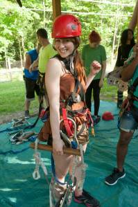 Katelyn gets ready to zip line.