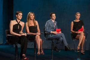 guest judge Allison Williams with Nina Garcia, Zac Posen and Heidi Klum