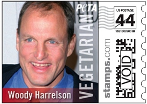 Woody-Harrelson-PETA-Postage-Stamp